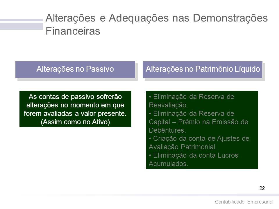 Alterações e Adequações nas Demonstrações Financeiras