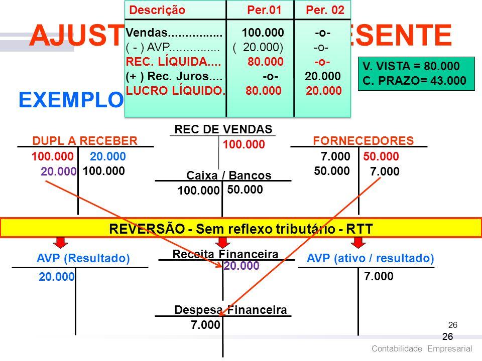 AJUSTE A VALOR PRESENTE REVERSÃO - Sem reflexo tributário - RTT