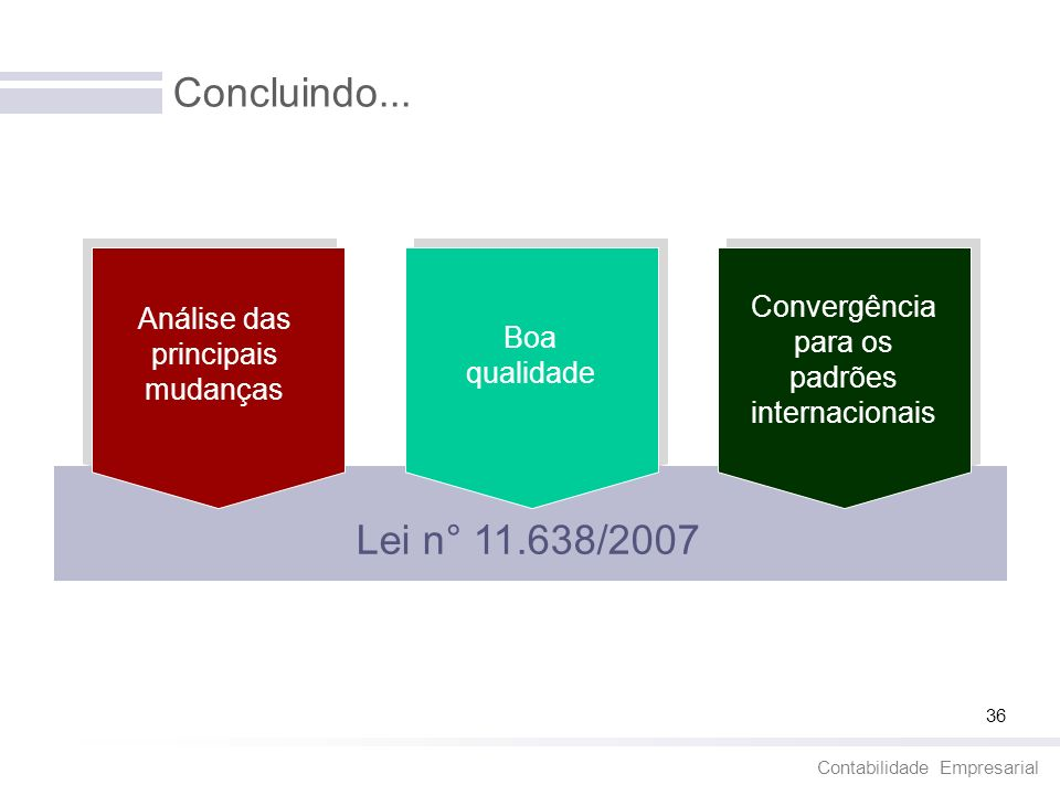 Concluindo...Convergência para os padrões internacionais. Análise das principais mudanças. Boa qualidade.