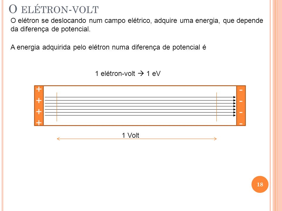O elétron-volt O elétron se deslocando num campo elétrico, adquire uma energia, que depende. da diferença de potencial.