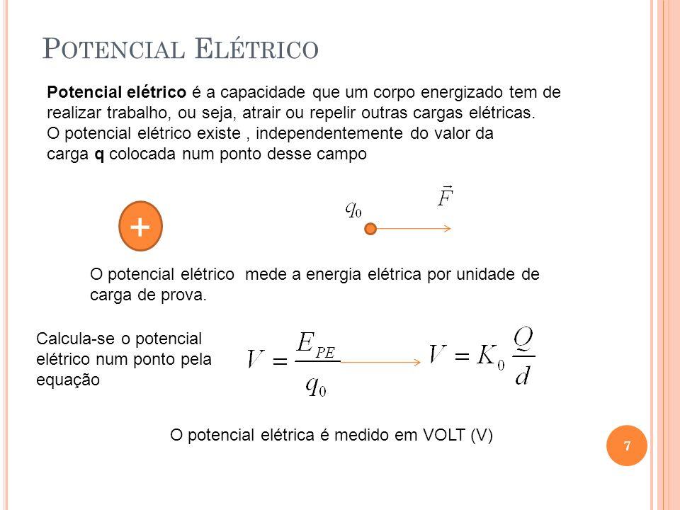 Potencial Elétrico Potencial elétrico é a capacidade que um corpo energizado tem de.