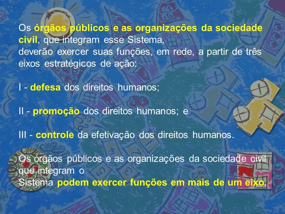 Os órgãos públicos e as organizações da sociedade civil, que integram esse Sistema,