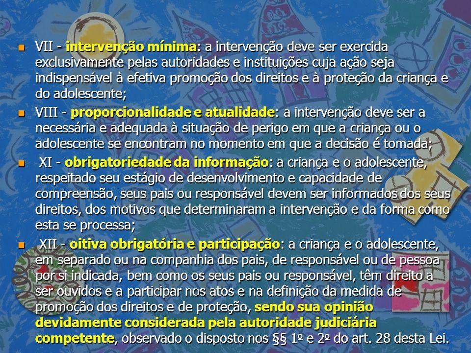 VII - intervenção mínima: a intervenção deve ser exercida exclusivamente pelas autoridades e instituições cuja ação seja indispensável à efetiva promoção dos direitos e à proteção da criança e do adolescente;