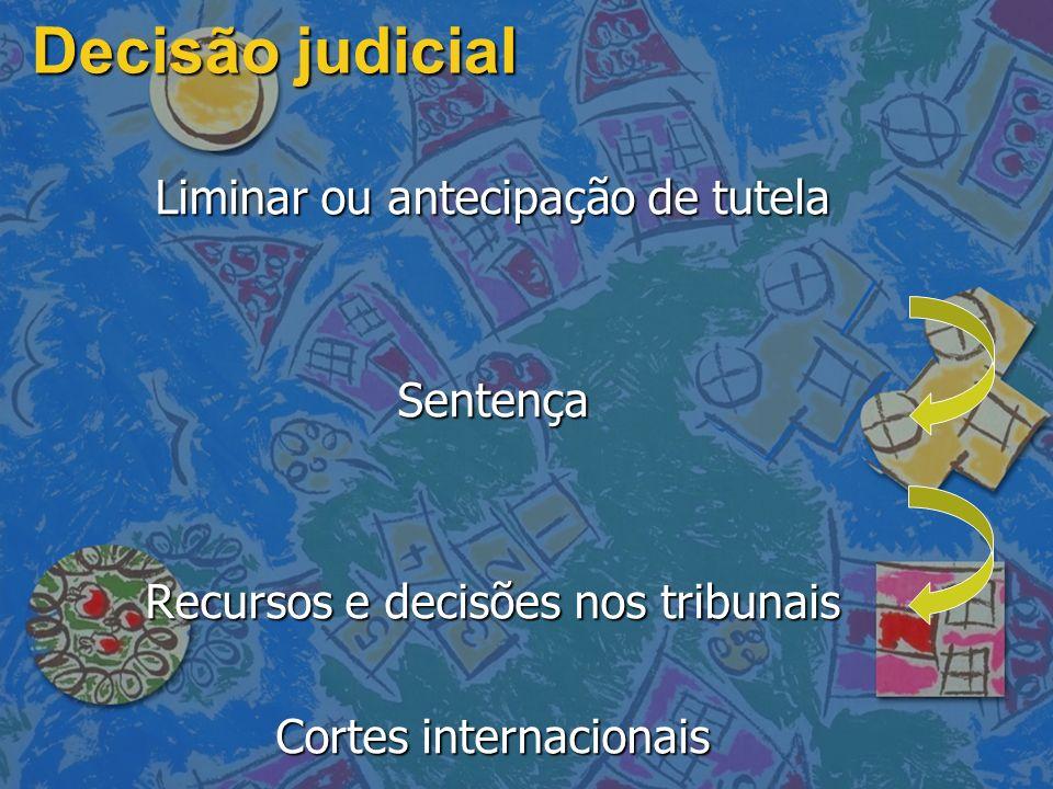 Decisão judicial Liminar ou antecipação de tutela Sentença
