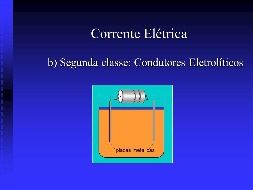 Corrente Elétrica b) Segunda classe: Condutores Eletrolíticos