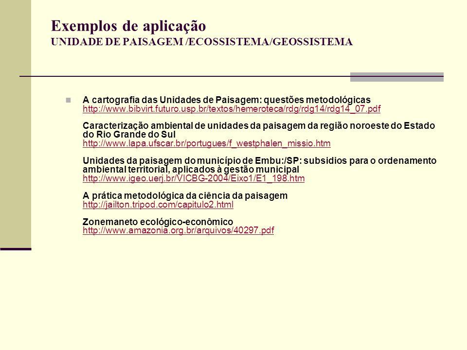 Exemplos de aplicação UNIDADE DE PAISAGEM /ECOSSISTEMA/GEOSSISTEMA