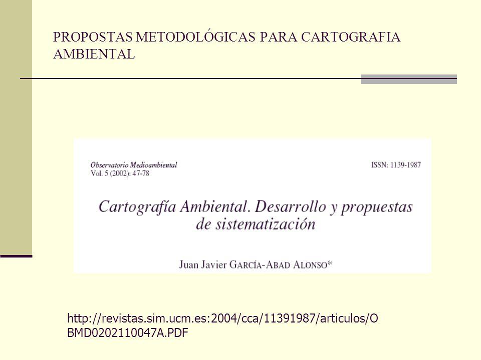 PROPOSTAS METODOLÓGICAS PARA CARTOGRAFIA AMBIENTAL