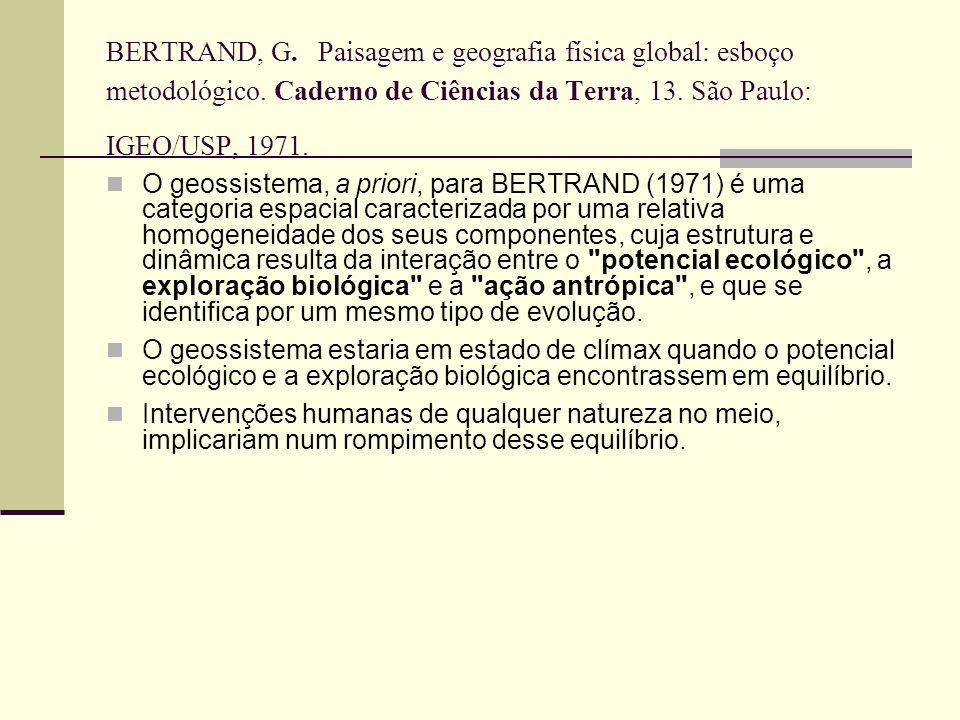 BERTRAND, G. Paisagem e geografia física global: esboço metodológico