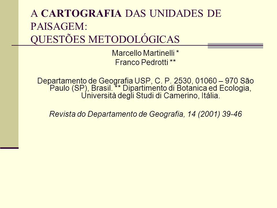 A CARTOGRAFIA DAS UNIDADES DE PAISAGEM: QUESTÕES METODOLÓGICAS