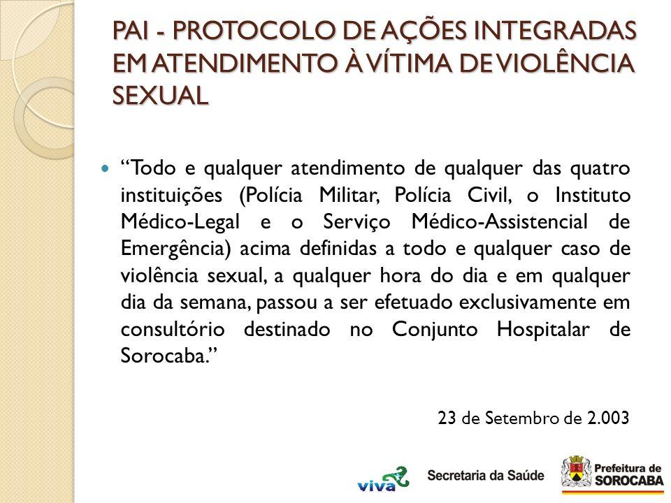 PAI - PROTOCOLO DE AÇÕES INTEGRADAS EM ATENDIMENTO À VÍTIMA DE VIOLÊNCIA SEXUAL