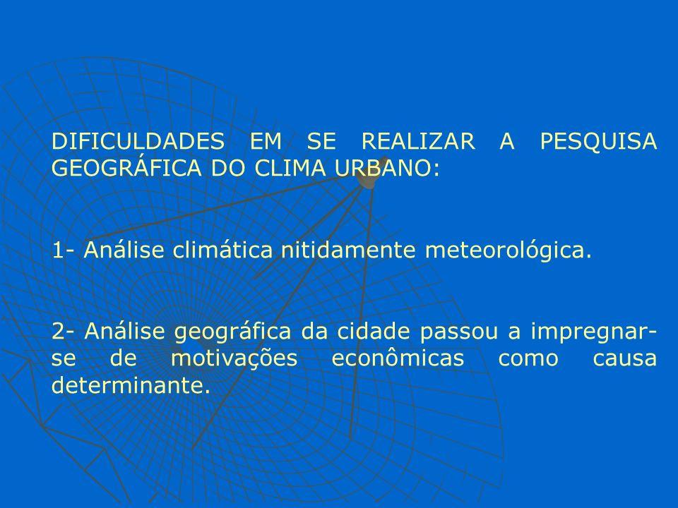 DIFICULDADES EM SE REALIZAR A PESQUISA GEOGRÁFICA DO CLIMA URBANO: