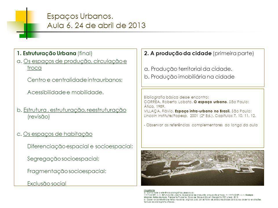 Espaços Urbanos. Aula 6. 24 de abril de 2013