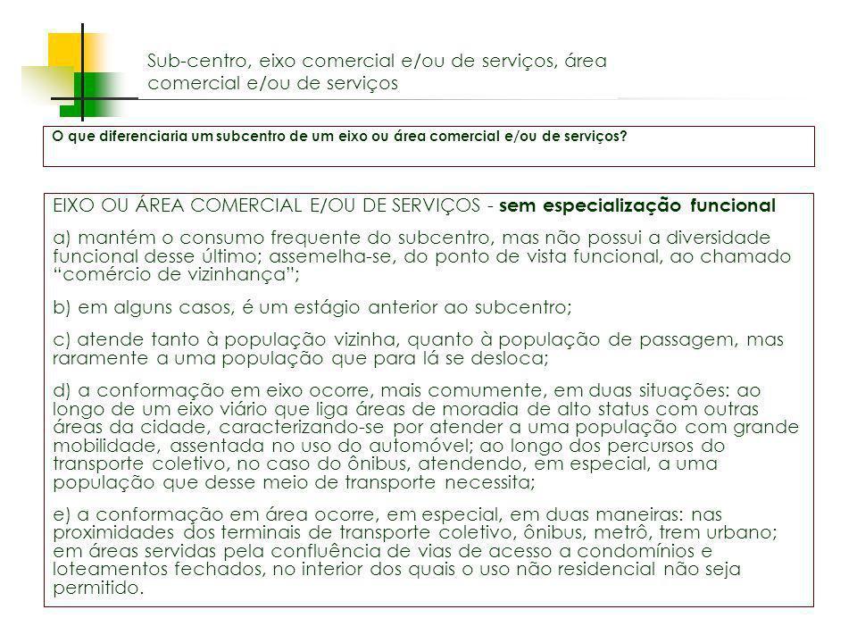 EIXO OU ÁREA COMERCIAL E/OU DE SERVIÇOS - sem especialização funcional