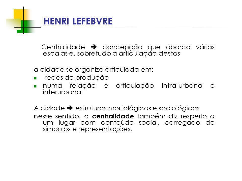HENRI LEFEBVRE Centralidade  concepção que abarca várias escalas e, sobretudo a articulação destas.