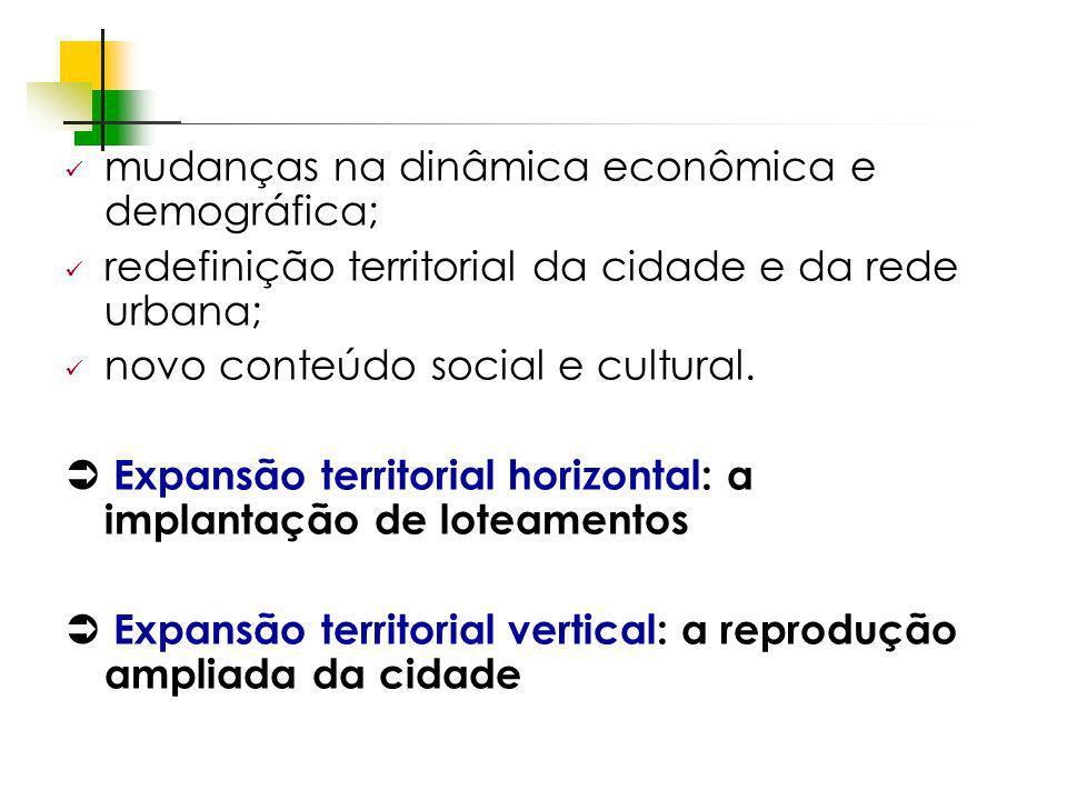 mudanças na dinâmica econômica e demográfica;