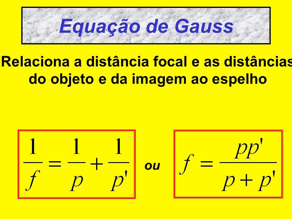 Equação de Gauss Relaciona a distância focal e as distâncias