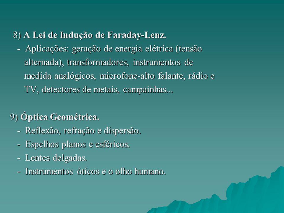 8) A Lei de Indução de Faraday-Lenz.