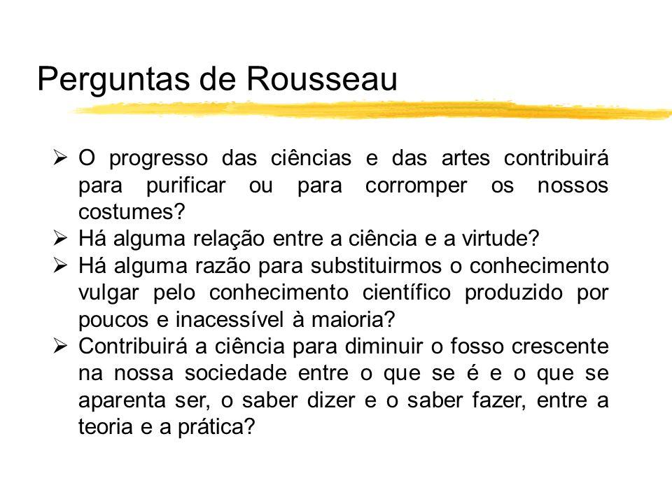 Perguntas de Rousseau O progresso das ciências e das artes contribuirá para purificar ou para corromper os nossos costumes