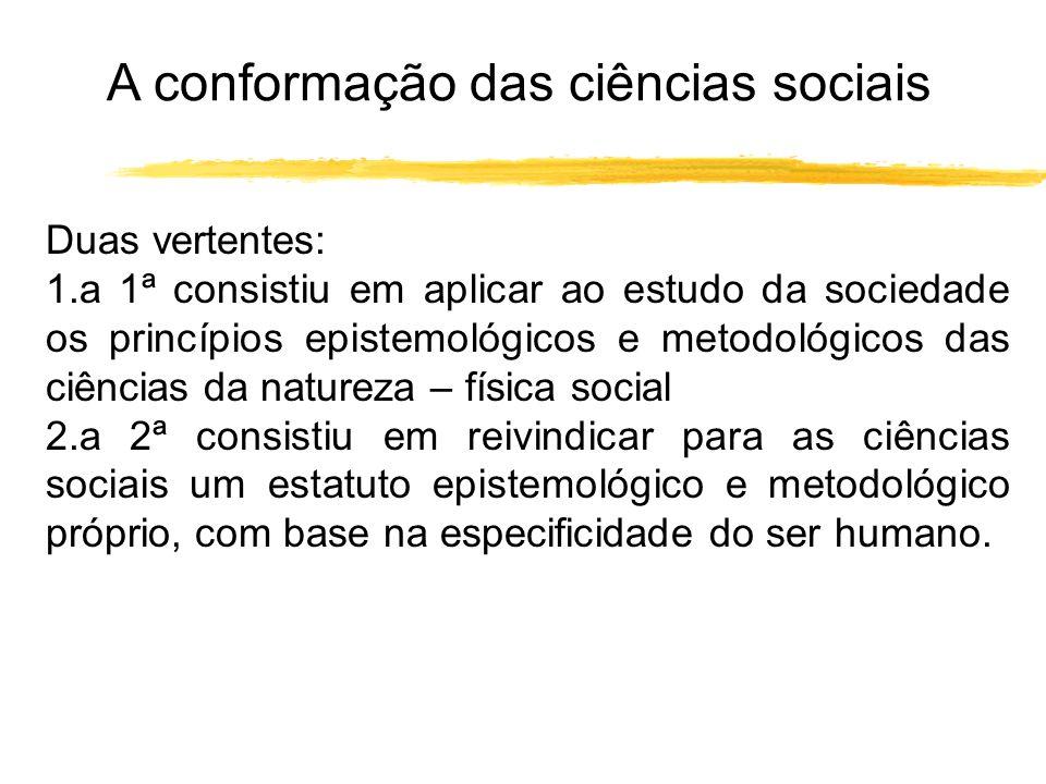 A conformação das ciências sociais