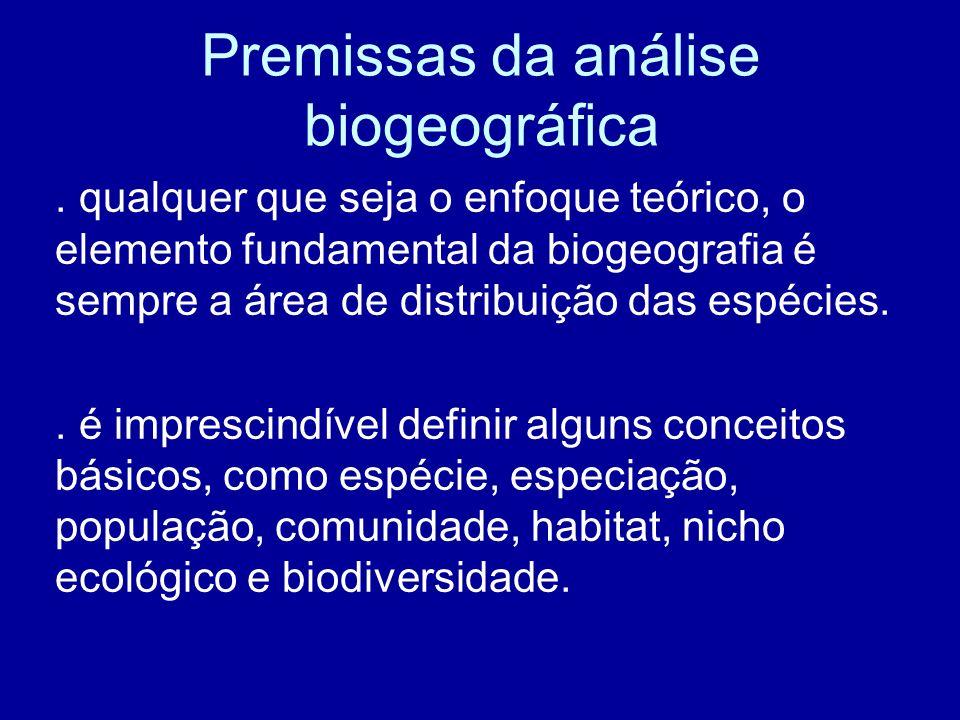 Premissas da análise biogeográfica