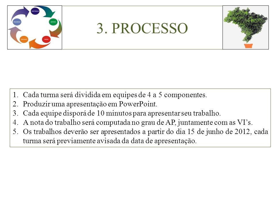 3. PROCESSO Cada turma será dividida em equipes de 4 a 5 componentes.