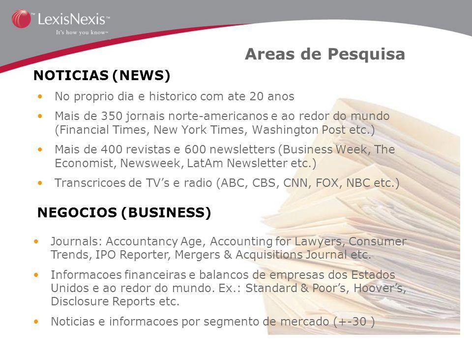 Areas de Pesquisa NOTICIAS (NEWS) NEGOCIOS (BUSINESS)