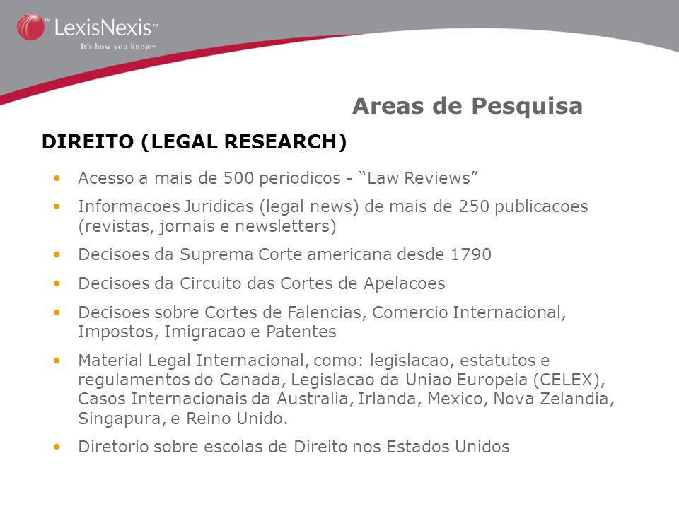 Areas de Pesquisa DIREITO (LEGAL RESEARCH)