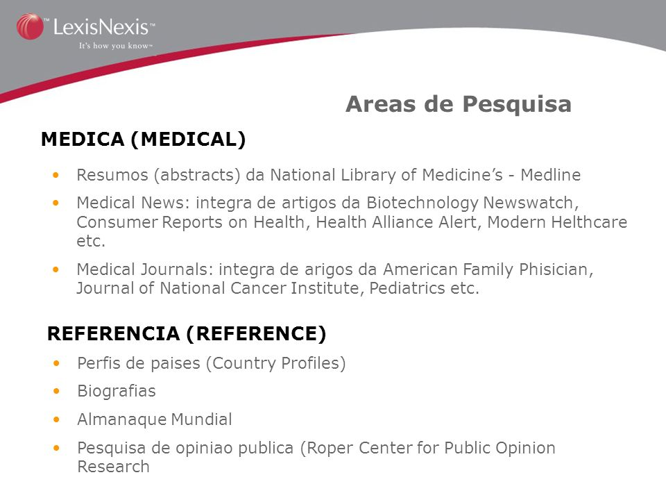 Areas de Pesquisa MEDICA (MEDICAL) REFERENCIA (REFERENCE)