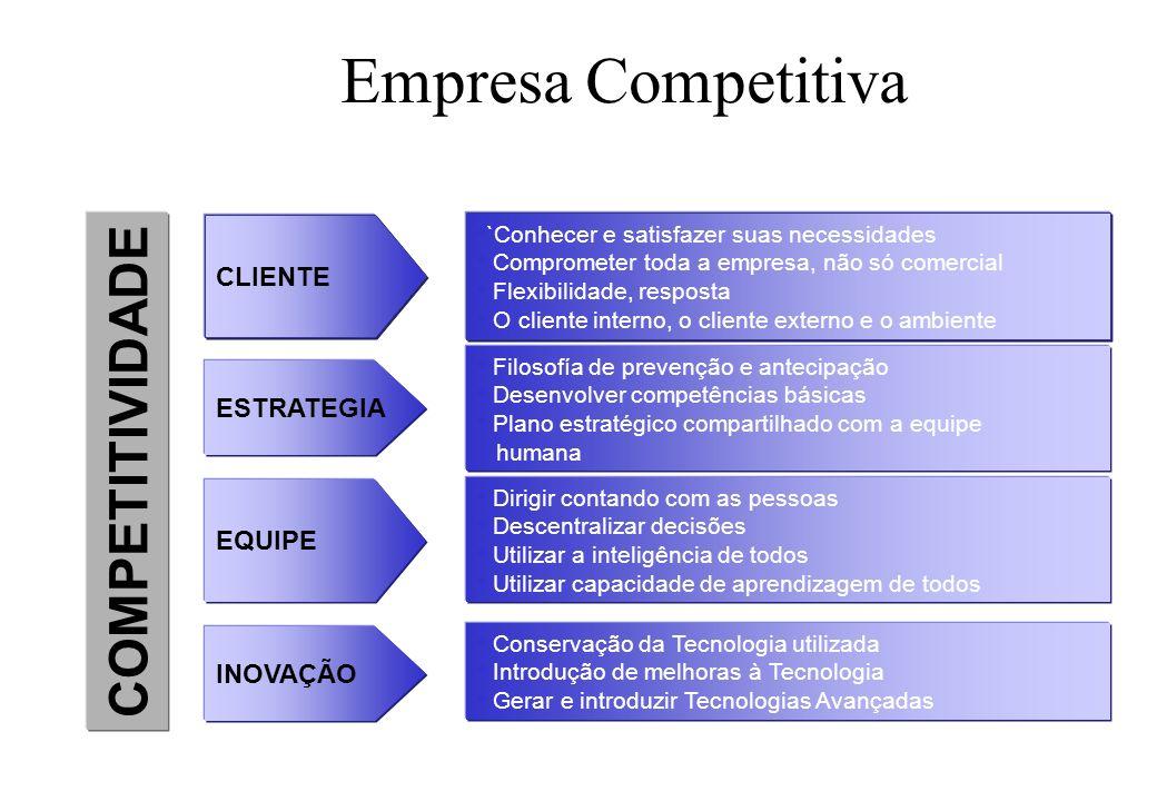 Empresa Competitiva COMPETITIVIDADE CLIENTE ESTRATEGIA EQUIPE INOVAÇÃO