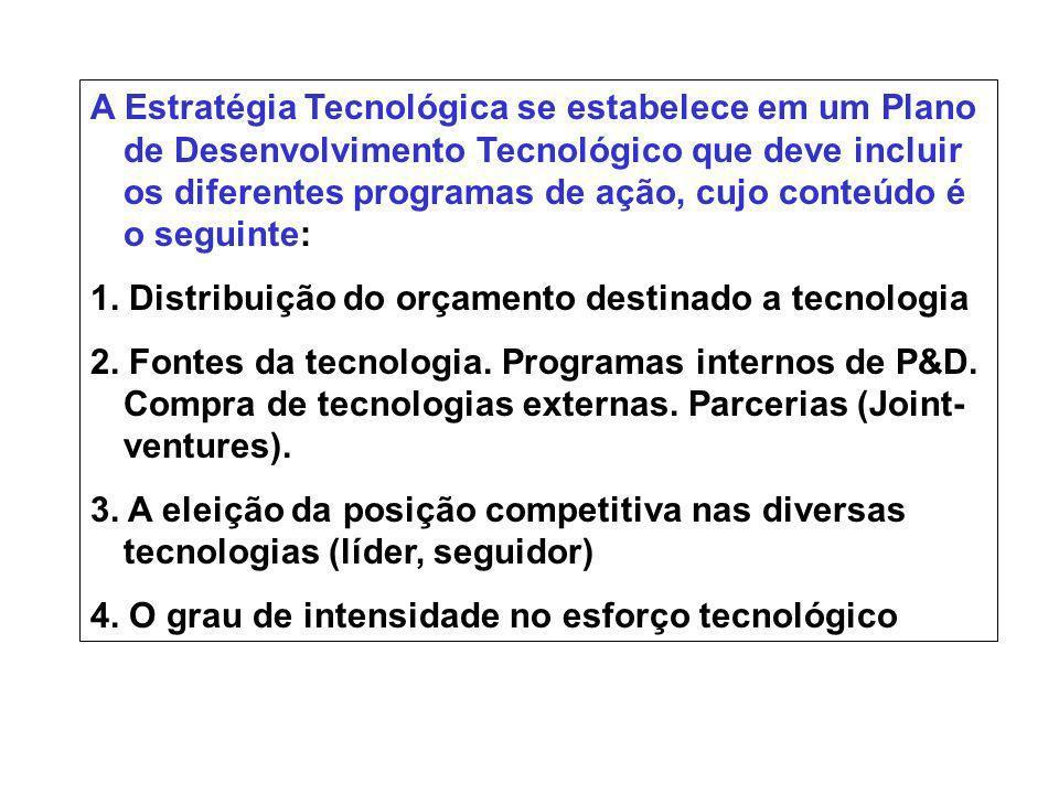 A Estratégia Tecnológica se estabelece em um Plano de Desenvolvimento Tecnológico que deve incluir os diferentes programas de ação, cujo conteúdo é o seguinte: