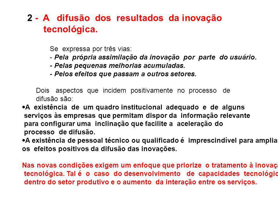 2 - A difusão dos resultados da inovação tecnológica.