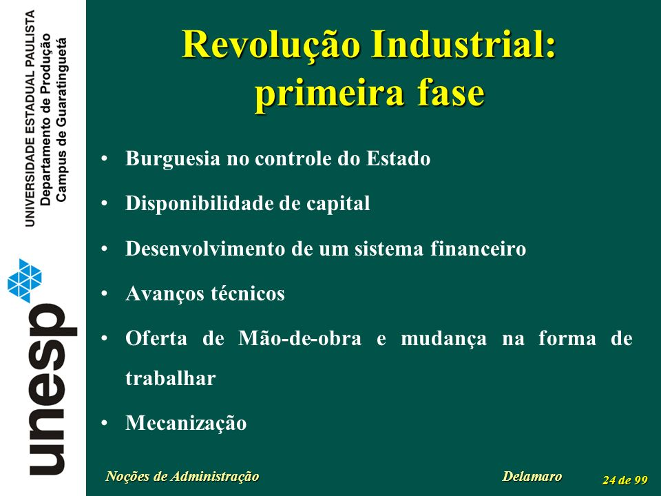Revolução Industrial: primeira fase
