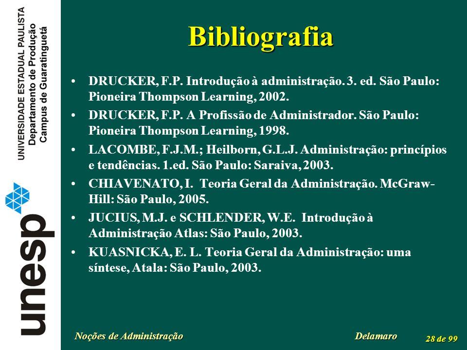 Bibliografia DRUCKER, F.P. Introdução à administração. 3. ed. São Paulo: Pioneira Thompson Learning, 2002.