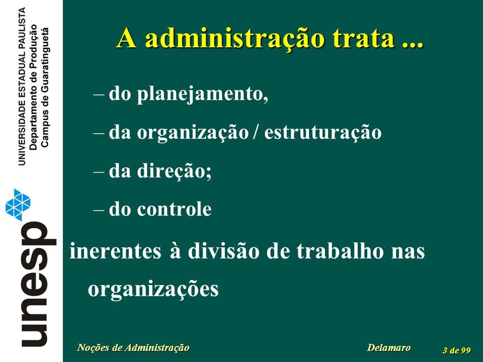 A administração trata ... do planejamento, da organização / estruturação. da direção; do controle.