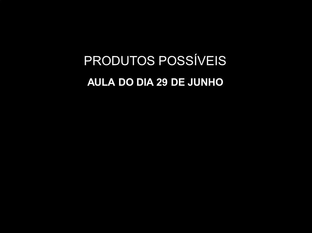 PRODUTOS POSSÍVEIS AULA DO DIA 29 DE JUNHO