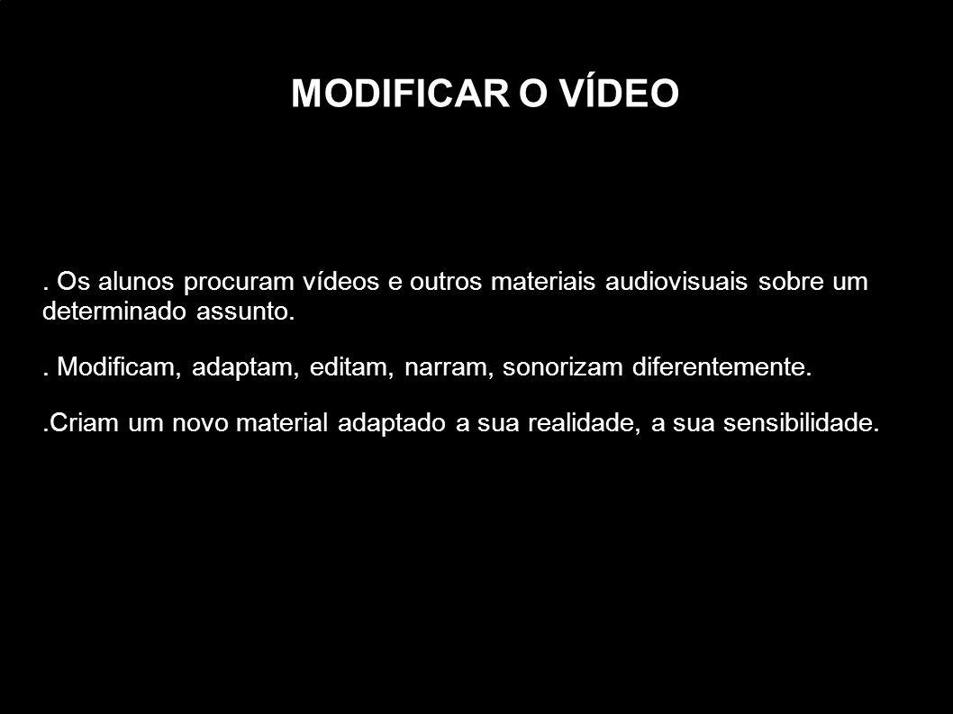 MODIFICAR O VÍDEO . Os alunos procuram vídeos e outros materiais audiovisuais sobre um determinado assunto.