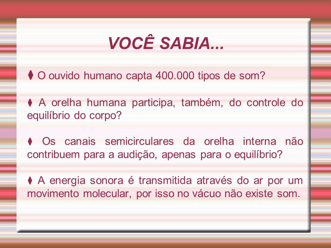 VOCÊ SABIA... ⧫ O ouvido humano capta 400.000 tipos de som