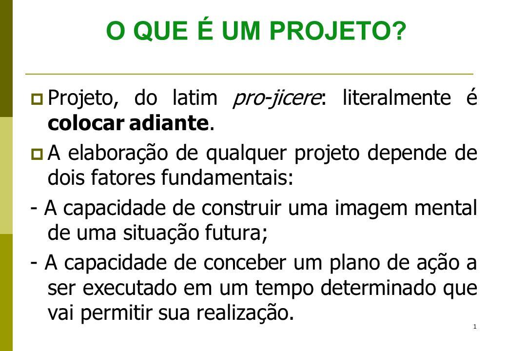O QUE É UM PROJETO Projeto, do latim pro-jicere: literalmente é colocar adiante.
