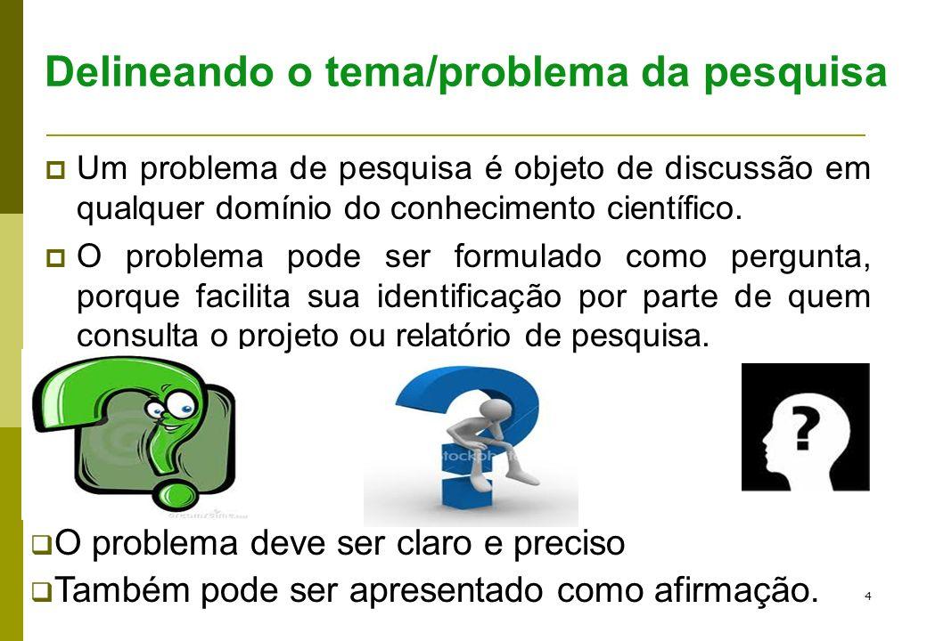 Delineando o tema/problema da pesquisa