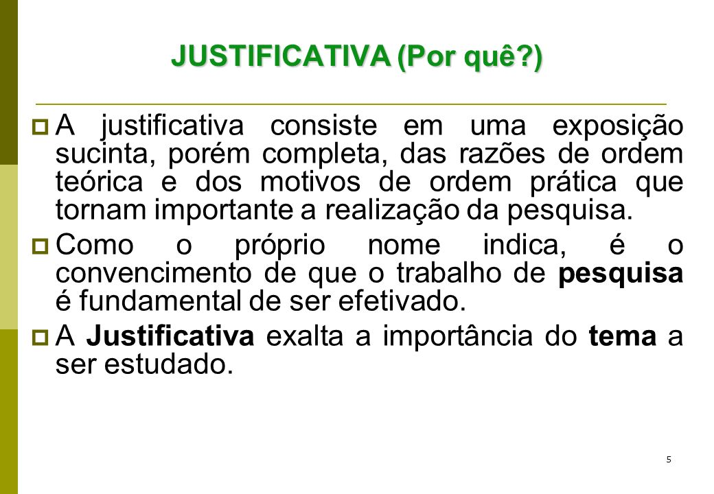 JUSTIFICATIVA (Por quê )