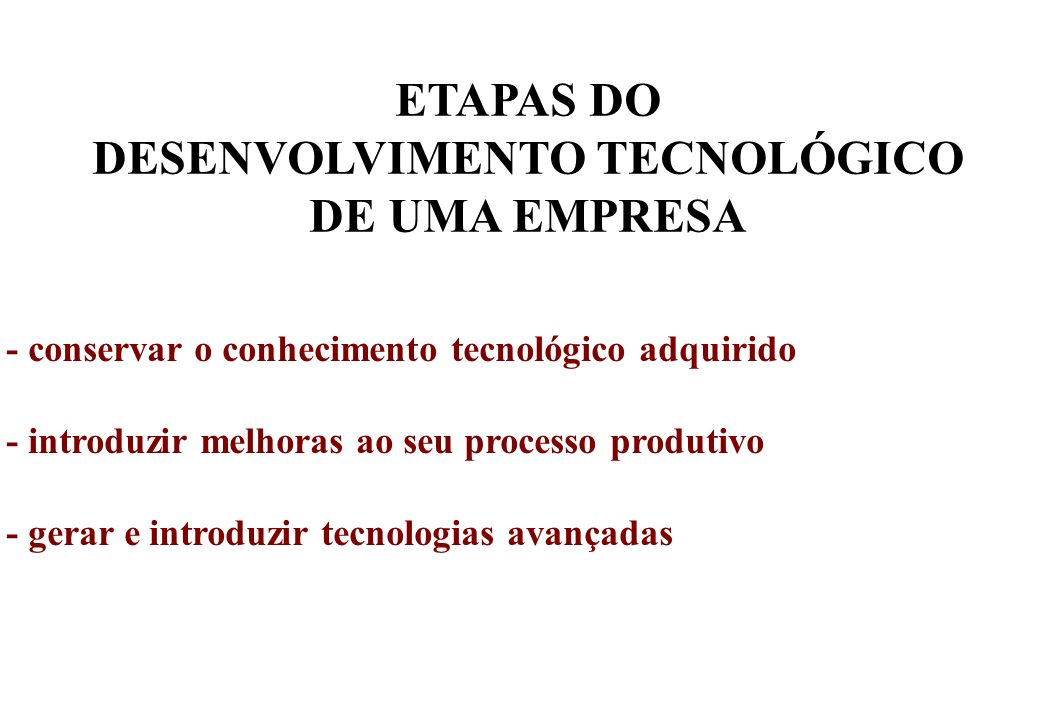 ETAPAS DO DESENVOLVIMENTO TECNOLÓGICO DE UMA EMPRESA