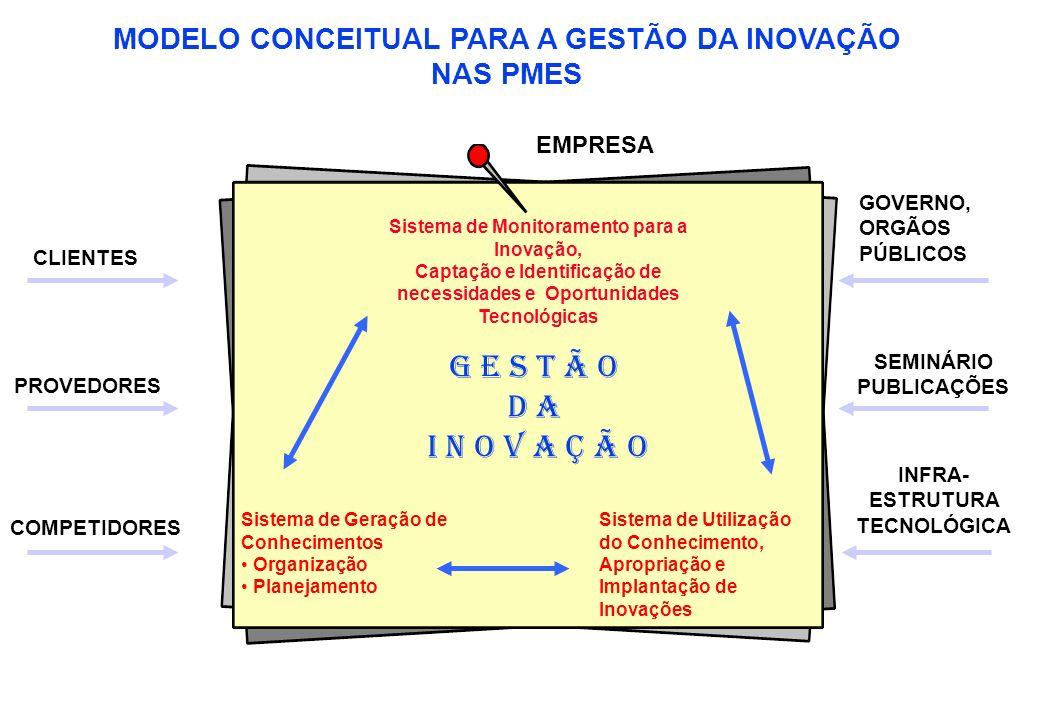 MODELO CONCEITUAL PARA A GESTÃO DA INOVAÇÃO NAS PMES