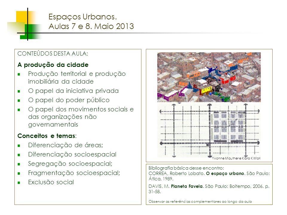 Espaços Urbanos. Aulas 7 e 8. Maio 2013 A produção da cidade