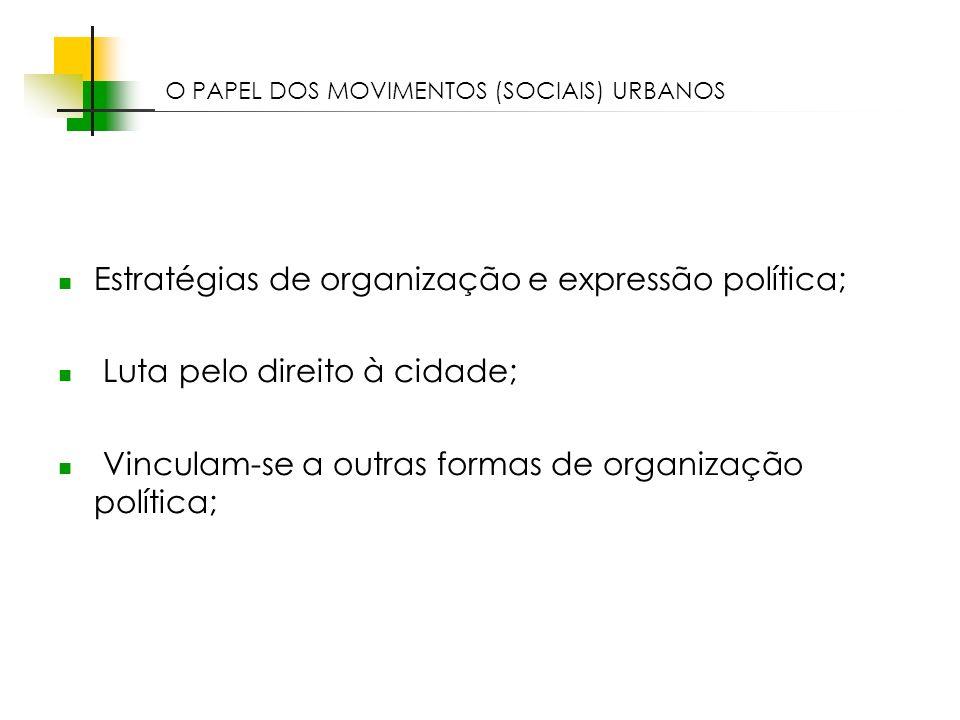 Estratégias de organização e expressão política;