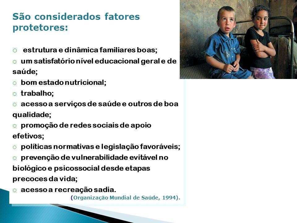 São considerados fatores protetores: