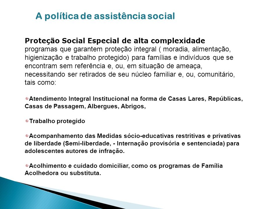 A política de assistência social