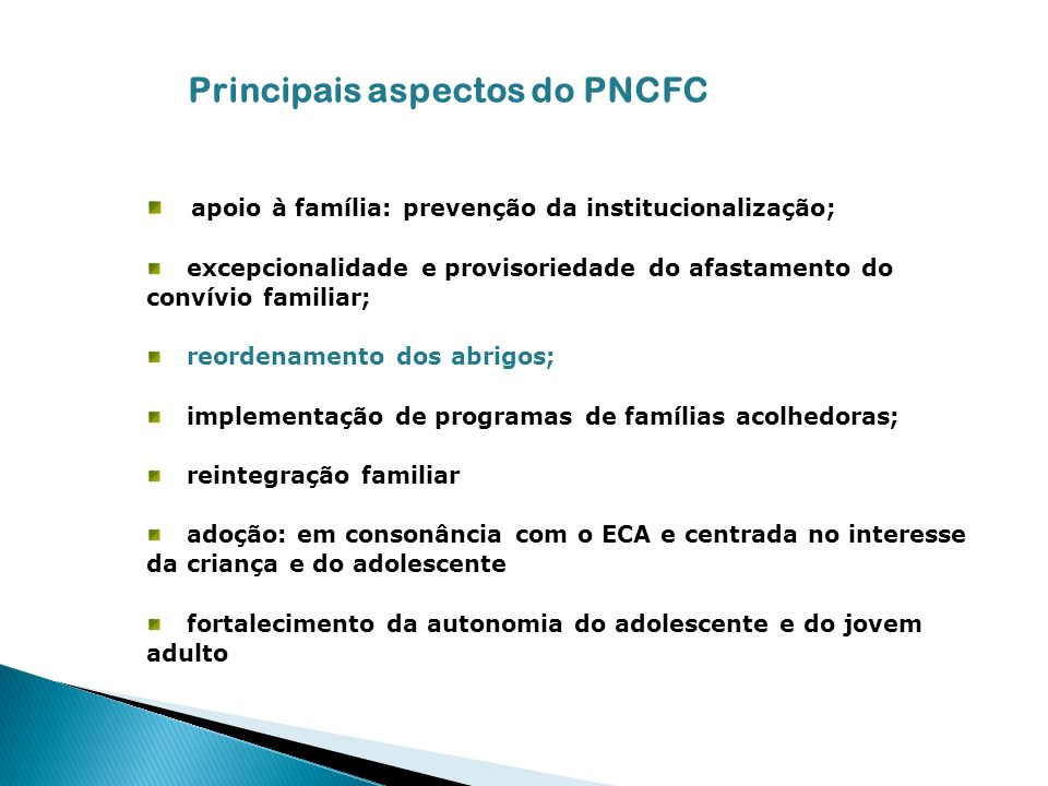 Principais aspectos do PNCFC