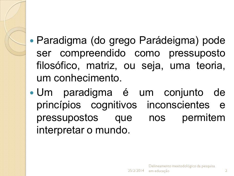 25/03/2017Paradigma (do grego Parádeigma) pode ser compreendido como pressuposto filosófico, matriz, ou seja, uma teoria, um conhecimento.