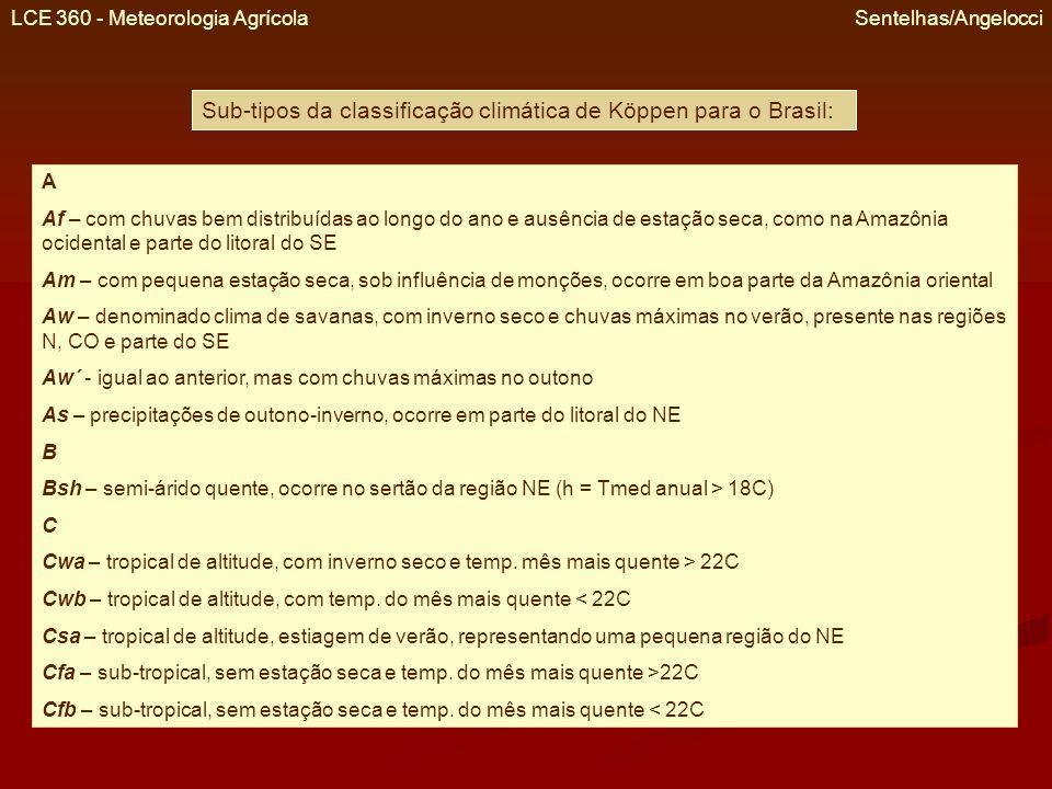Sub-tipos da classificação climática de Köppen para o Brasil: