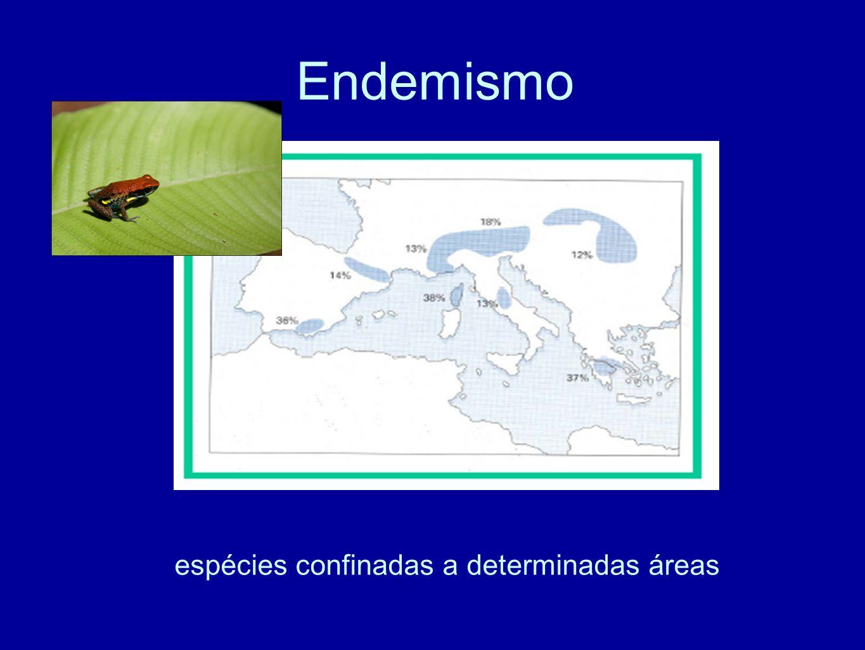 espécies confinadas a determinadas áreas
